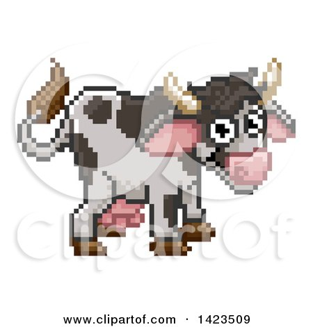 Retro 8 Bit Pixel Art Video Game Styled Cow Posters Art