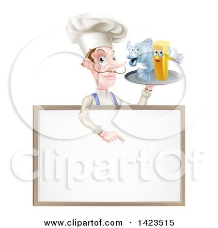 Clipart of a White Male Chef with a Curling Mustache, Holding a Fish and Chips on a Tray and Pointing down over a Menu - Royalty Free Vector Illustration by AtStockIllustration