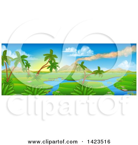 Clipart of a Perhistoric Jurassic Landscape with a Smoking Volcano - Royalty Free Vector Illustration by AtStockIllustration