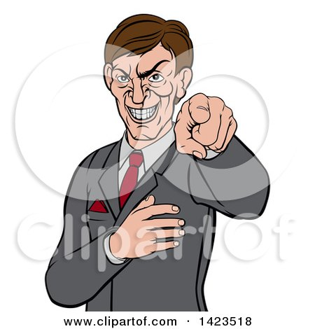 Clipart of a Cartoon Evil White Business Man Pointing His Finger Outwards - Royalty Free Vector Illustration by AtStockIllustration