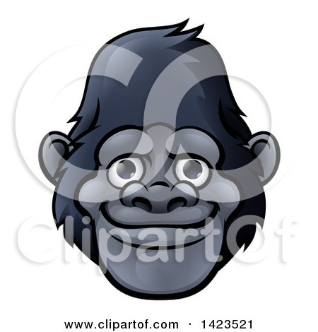 Clipart of a Cartoon Happy Gorilla Face - Royalty Free Vector Illustration by AtStockIllustration