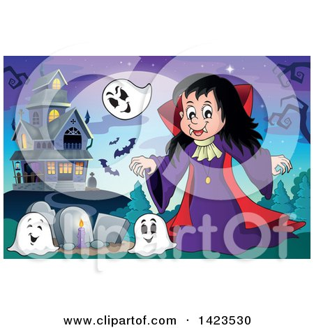 Clipart of a Vampire Girl with Ghosts in a Cemetery near a Haunted House - Royalty Free Vector Illustration by visekart