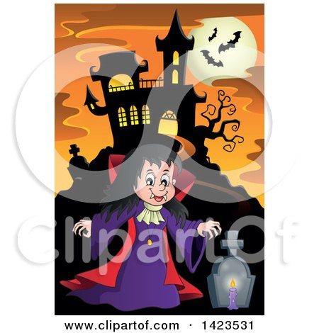 Clipart of a Witch Girl in a Cemetery near a Haunted House, Against a Full Moon with Bats - Royalty Free Vector Illustration by visekart