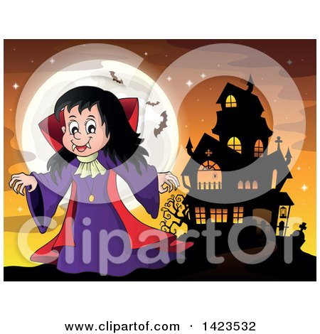 Clipart of a Witch Girl near a Haunted House, Against a Full Moon with Bats - Royalty Free Vector Illustration by visekart