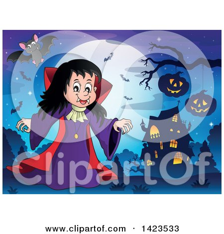 Clipart of a Witch Girl near a Haunted House, Against a Full Moon with Flying Bats - Royalty Free Vector Illustration by visekart