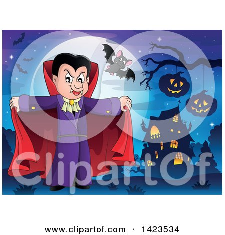 Clipart of a Dracula Vampire Holding His Cape Open near a Haunted House - Royalty Free Vector Illustration by visekart
