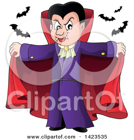 Clipart Of A Dracula Vampire Holding His Cape Open With Bats Royalty Free Vector Illustration
