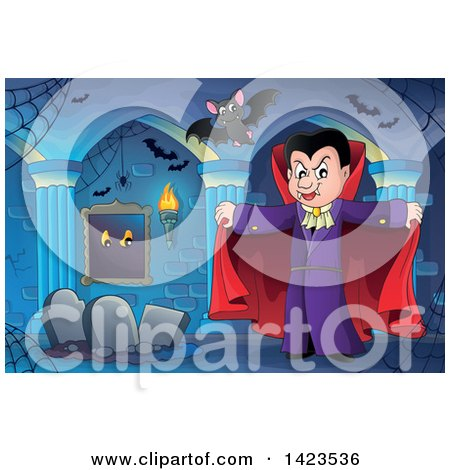 Clipart of a Dracula Vampire Holding His Cape Open, with Bats over Graves - Royalty Free Vector Illustration by visekart