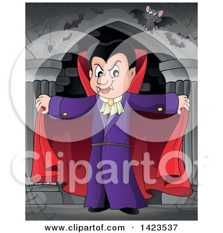 Clipart of a Dracula Vampire Holding His Cape Open, with Bats in a Hallway - Royalty Free Vector Illustration by visekart