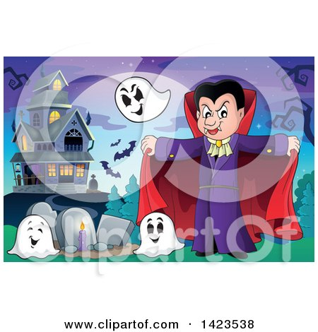 Clipart of a Vampire with Ghosts in a Cemetery near a Haunted House - Royalty Free Vector Illustration by visekart