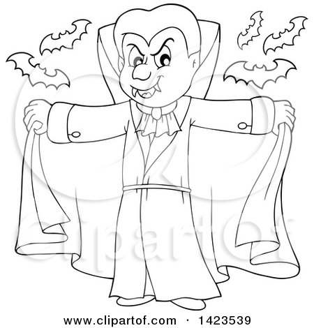 Clipart of a Black and White Lineart Dracula Vampire Holding His Cape Open, with Bats - Royalty Free Vector Illustration by visekart