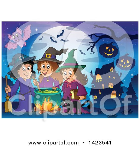 Clipart of a Bat over Witches and a Cat Making a Potion near a Haunted House - Royalty Free Vector Illustration by visekart