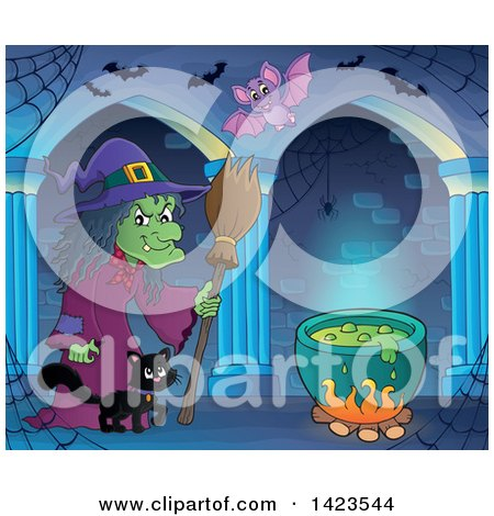 Clipart of a Green Witch Walking with a Cat Towards a Cauldron in a Hallway with Bats - Royalty Free Vector Illustration by visekart