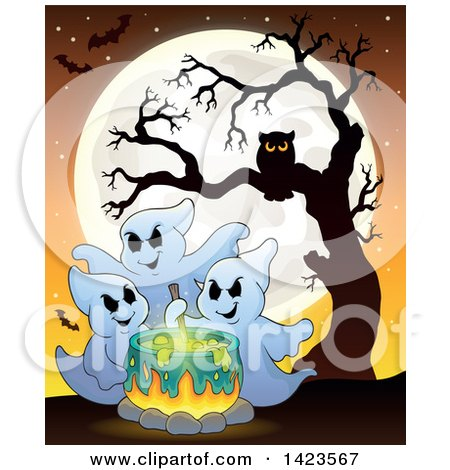 Clipart of a Full Moon with Ghosts Making a Potion in a Cauldron, Bats and an Owl in a Tree - Royalty Free Vector Illustration by visekart