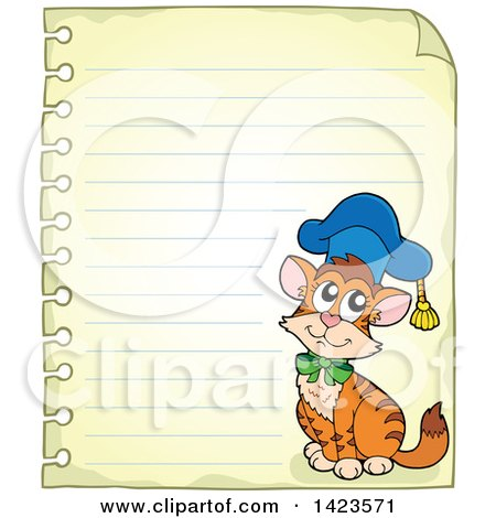 Clipart of a Ruled Sheet of Spiral Notebook Paper with a Graduate Cat - Royalty Free Vector Illustration by visekart
