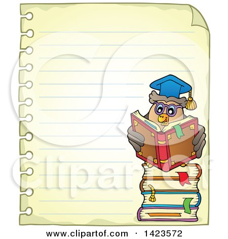 Clipart of a Ruled Sheet of Spiral Notebook Paper with a Professor Owl Reading on a Stack of Books - Royalty Free Vector Illustration by visekart