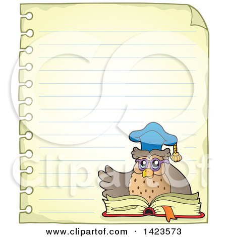 Clipart of a Ruled Sheet of Spiral Notebook Paper with a Professor Owl Reading a Book - Royalty Free Vector Illustration by visekart