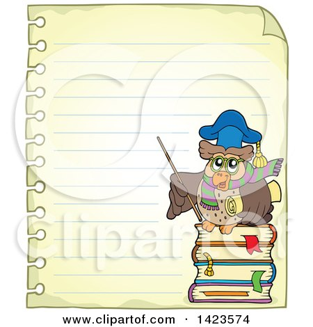 Clipart of a Ruled Sheet of Spiral Notebook Paper with a Professor Owl Holding a Pointer Stick - Royalty Free Vector Illustration by visekart