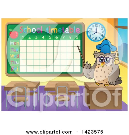 Clipart of a Professor Teacher Owl Pointing to a School Time Table in a Class Room - Royalty Free Vector Illustration by visekart
