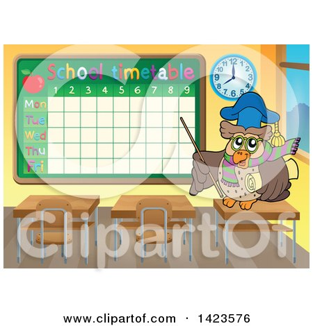 Clipart of a Professor Teacher Owl Pointing to a Schooltime Table in a Class Room - Royalty Free Vector Illustration by visekart