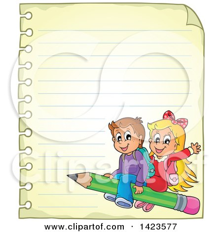 Clipart of a Ruled Sheet of Spiral Notebook Paper with School Children Flying on a Pencil - Royalty Free Vector Illustration by visekart