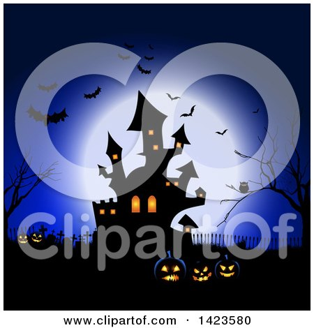 Clipart of a Full Moon Silhouetting Bats, an Owl in a Tree, Haunted Castle, Cemetery and Jackolantern Pumpkins Against Blue - Royalty Free Vector Illustration by KJ Pargeter