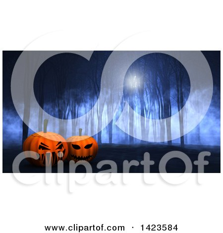 Clipart of 3d Halloween Jackolantern Pumpkins in a Spooky Forest - Royalty Free Illustration by KJ Pargeter