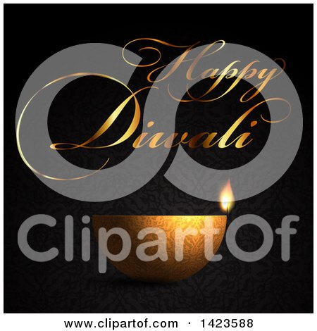 Clipart of Happy Diwali Text with a Gold Oil Lamp on Patterned Black - Royalty Free Vector Illustration by KJ Pargeter