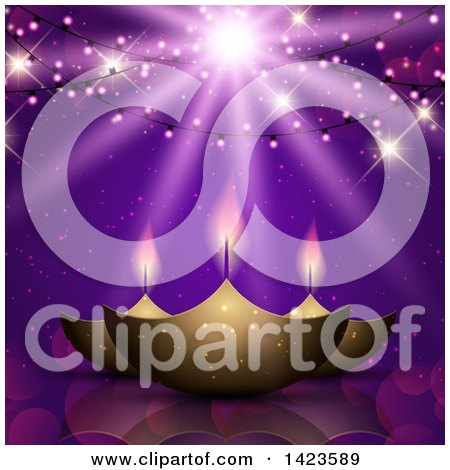 Clipart of Diwali Oil Lamps Under Hanging Lights and Rays on Purple - Royalty Free Vector Illustration by KJ Pargeter