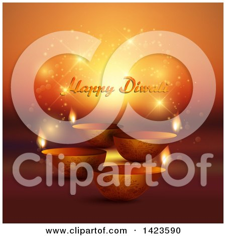 Clipart of Happy Diwali Text with Oil Lamps on Magic Flares and Orange - Royalty Free Vector Illustration by KJ Pargeter