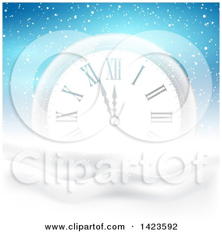 Clipart of a Count down Clock Approaching Midnight for Christmas or New Years in the Snow over Blue - Royalty Free Vector Illustration by KJ Pargeter