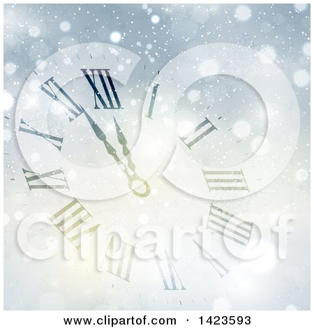 Clipart of a Count down Clock Approaching Midnight for Christmas or New Years in the Snow - Royalty Free Vector Illustration by KJ Pargeter