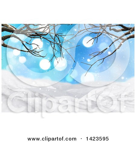 Clipart of a 3d Hilly Winter Landscape Covered in Snow with Bare Tree Branches and Flares - Royalty Free Illustration by KJ Pargeter