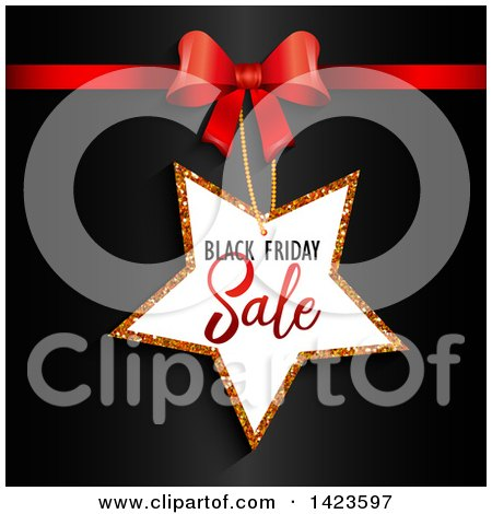 Clipart of a Black Friday Sale Retail Star Tag and Red Bow over Black - Royalty Free Vector Illustration by KJ Pargeter