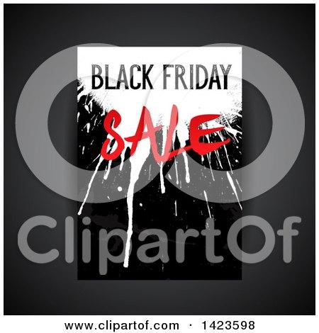 Clipart of a Grungy Splatter Black Friday Sale Retail Leaflet Design over Gray - Royalty Free Vector Illustration by KJ Pargeter