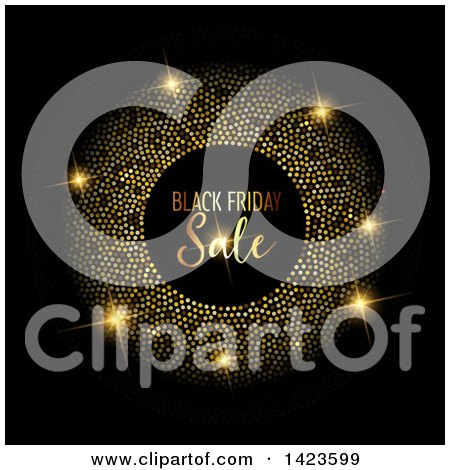 Clipart of a Gold Glittery Frame Around Black Friday Sale Text over Black - Royalty Free Vector Illustration by KJ Pargeter
