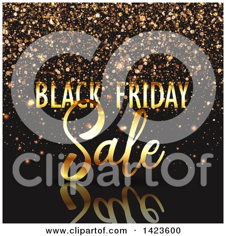 Clipart of a Black Friday Sale Retail Design in Gold over Black with Confetti - Royalty Free Vector Illustration by KJ Pargeter