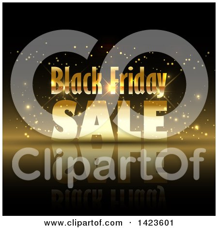 Clipart of a Black Friday Sale Retail Design in Gold over Black - Royalty Free Vector Illustration by KJ Pargeter