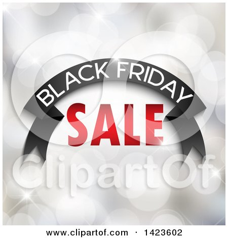 Clipart of a Black Friday Sale Retail Design Banner over Bokeh Flares - Royalty Free Vector Illustration by KJ Pargeter