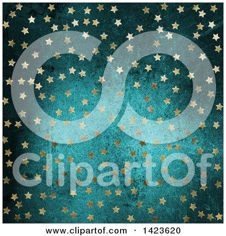 Clipart of a Background of Golden Stars over Blue Grunge - Royalty Free Illustration by KJ Pargeter