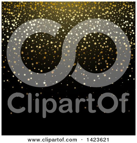 Clipart of a Black Background with Gold Star Glitter Confetti - Royalty Free Vector Illustration by KJ Pargeter