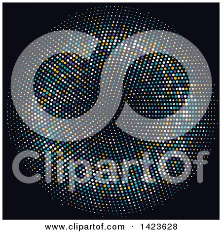 Clipart of a Circle or Tunnel Made of Halftone Dots on Black - Royalty Free Vector Illustration by KJ Pargeter