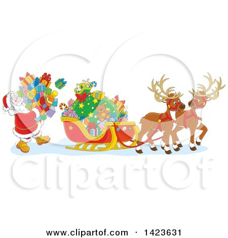 Clipart Of Cartoon Reindeer Waiting As Santa Loads His Sleigh With Christmas Gifts Royalty Free Vector Illustration