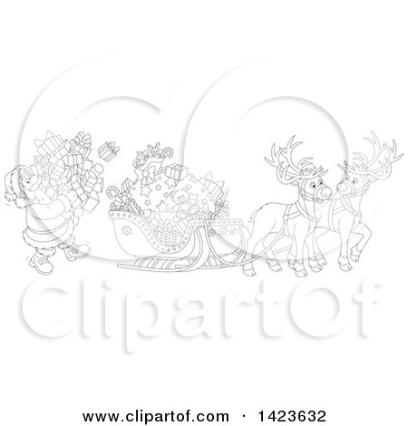 Clipart of Cartoon Black and White Lineart Reindeer Waiting As Santa Loads His Sleigh with Christmas Gifts - Royalty Free Vector Illustration by Alex Bannykh