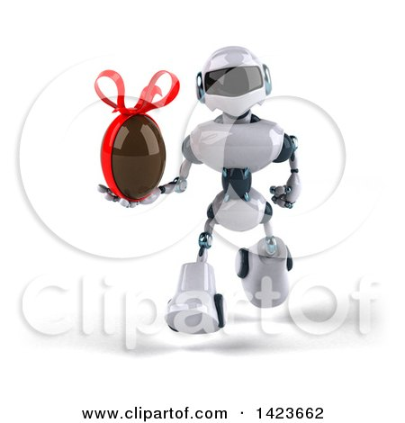 Clipart of a 3d White and Blue Robot, on a White Background - Royalty Free Illustration by Julos