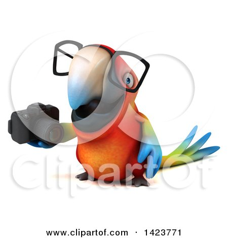 Clipart of a 3d Scarlet Macaw Parrot, on a White Background - Royalty Free Illustration by Julos