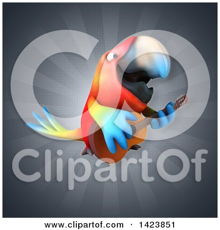 Clipart of a 3d Scarlet Macaw Parrot - Royalty Free Illustration by Julos
