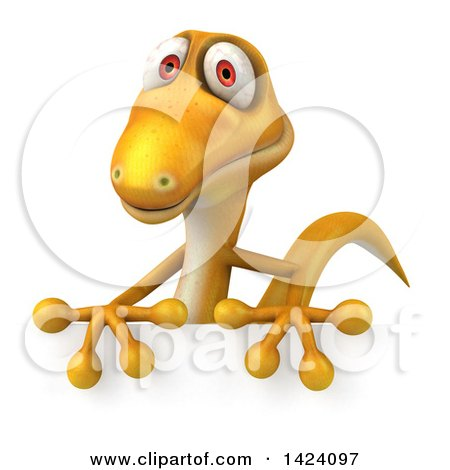 Clipart of a 3d Yellow Gecko Lizard over a Sign, on a White Background - Royalty Free Illustration by Julos