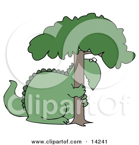 Big Green Dinosaur Hugging and Hiding Behind a Tree in Fear Clipart Illustration by djart