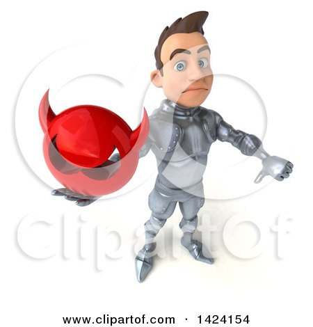 Clipart of a 3d Caucasian Male Armored Knight, on a White Background - Royalty Free Illustration by Julos
